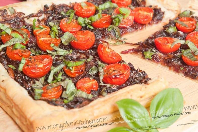 Caramelised Onion and tomato tart