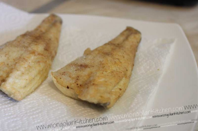 Set the fish aside after frying