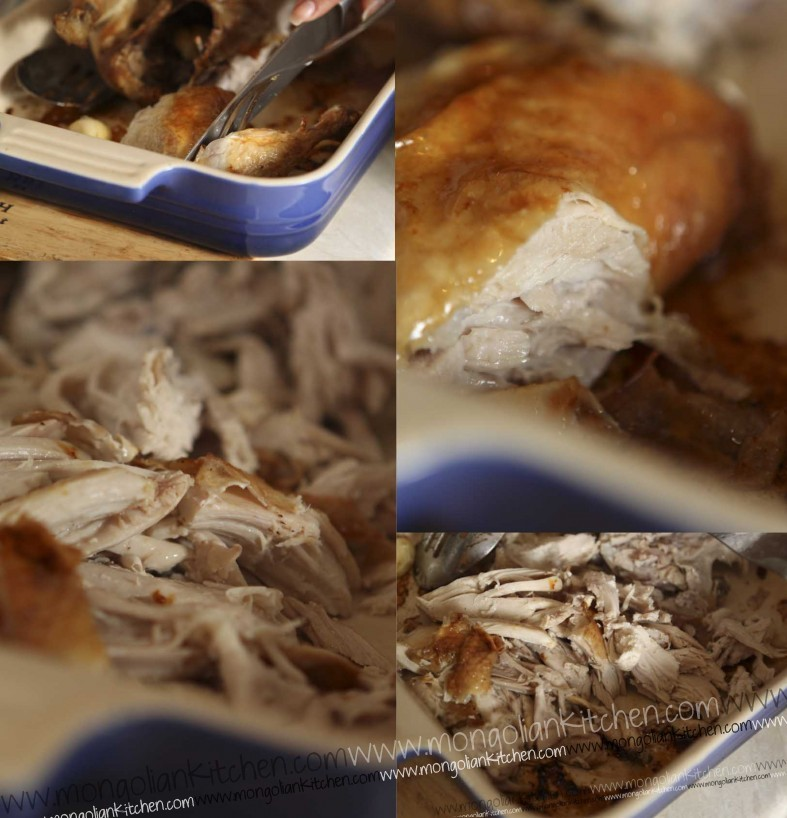 tear the chicken into small pieces for circassian chicken recipe