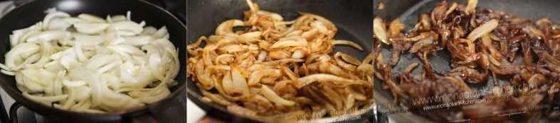 caramelise the onions for chicken sharkaseya