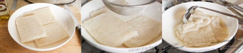 add stock to the sliced white bread sharkaseya recipe