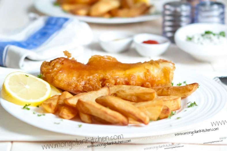 Traditional beer Battered Fish and Chips | MongolianKitchen.com
