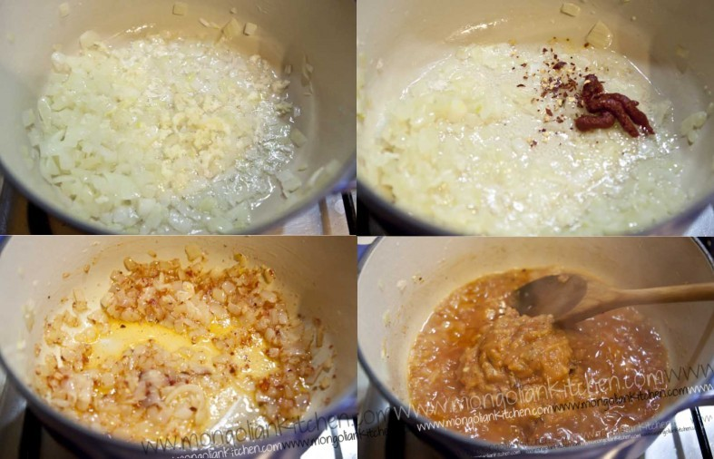 Fry the onions and garlic for the pasta bake recipe