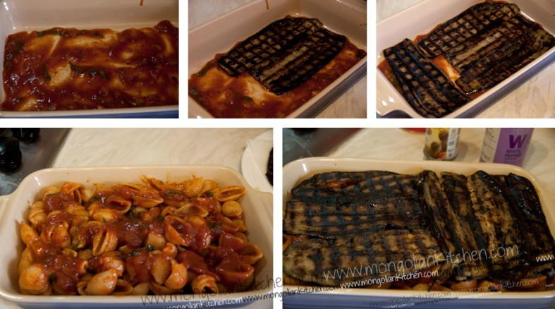 Line your baking dish with aubergines, then top with pasta