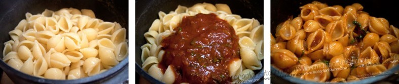 Cook the Pasta and mix with the tomato basil sauce