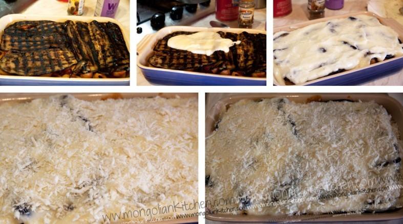 Top the bake with the vegan bechamel sauce then panko breadcrumbs