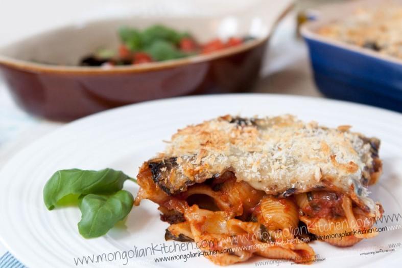 Aubergine Eggplant & Pasta bake Recipe