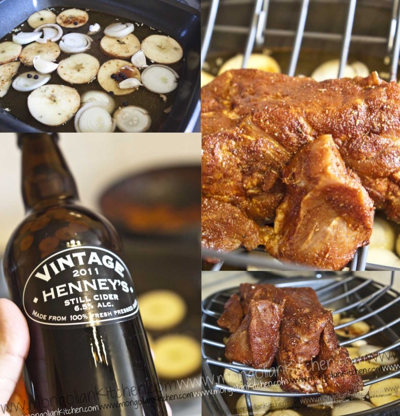 Marinade the pulled pork shoulder and braise with cider