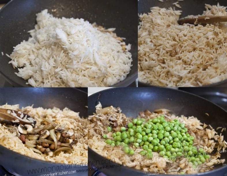 Fry the rice then add seasoning and other ingredients nasi goreng recipe
