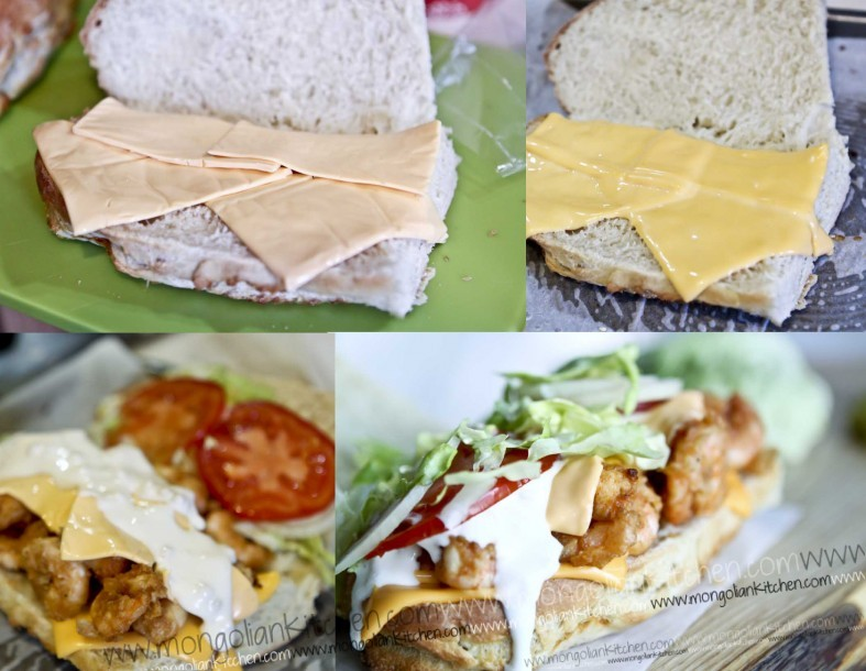Assemble the fried shrimp sandwich fried prawn recipe