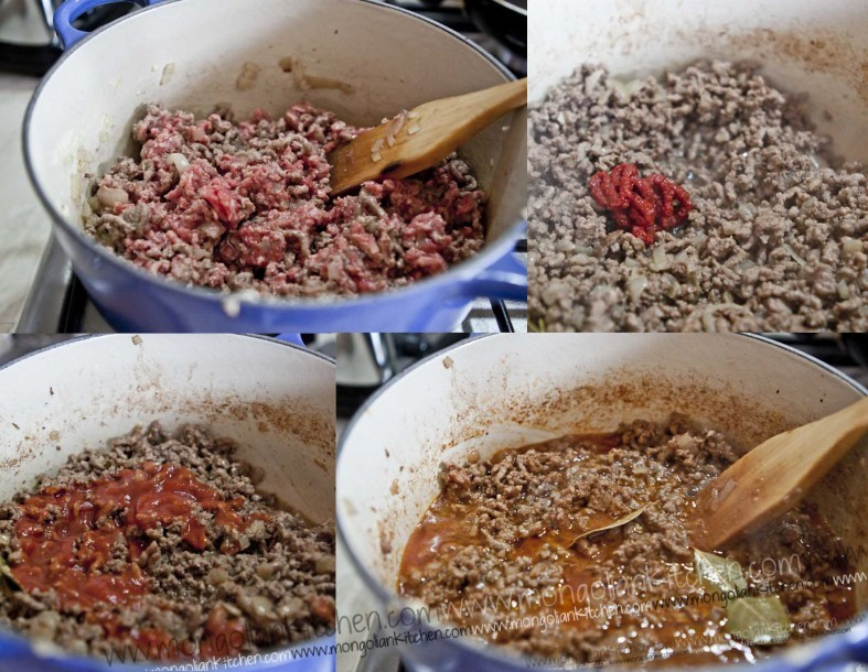 Prepare the beef filling for the pastitsio (pasta bechamel bake)