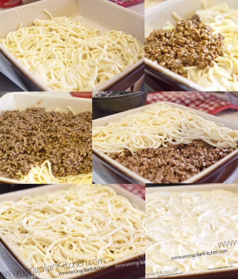 layer the pastitsio - pasta bake and then bake recipe