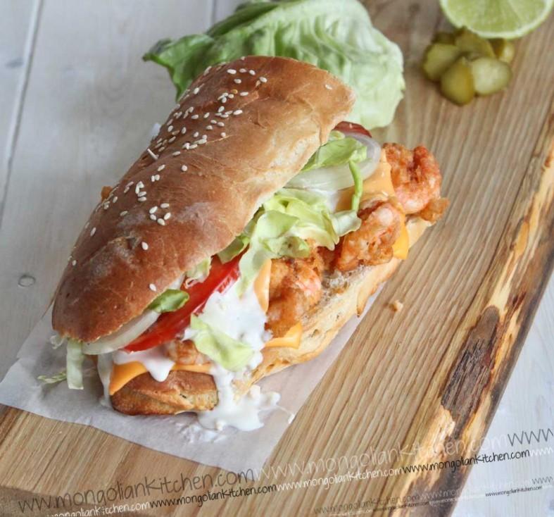 fried prawn sub sandwich recipe