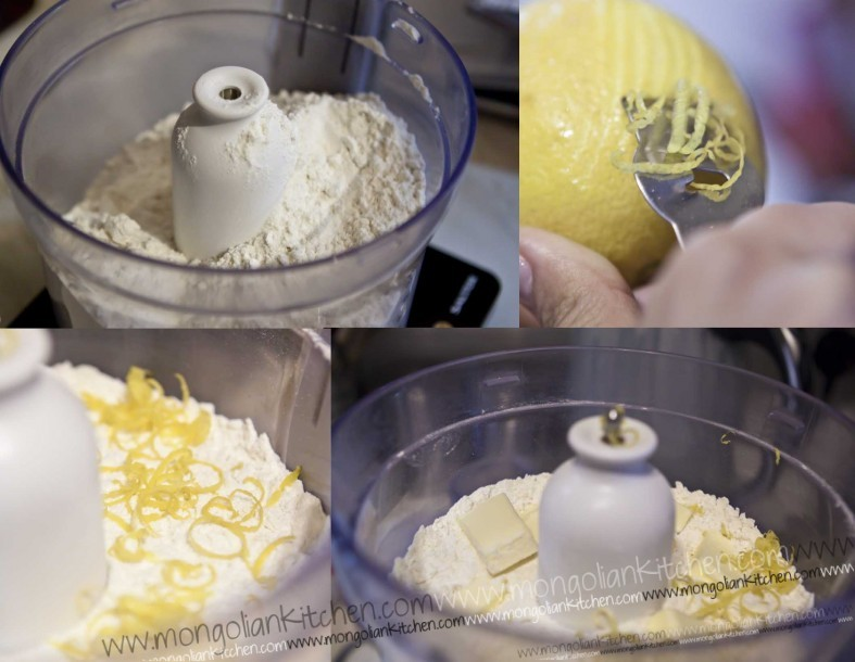 mix together the dry ingredients of the blueberry muffin with the butter