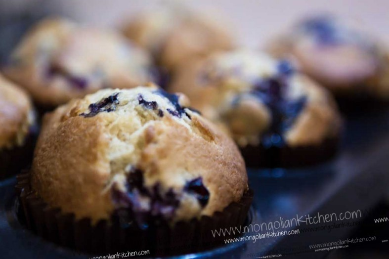 bake the blueberry muffins until golden and risen