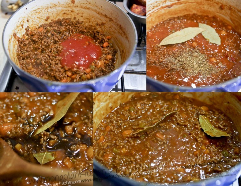 add remaining ingredients to the beef bolognese sauce